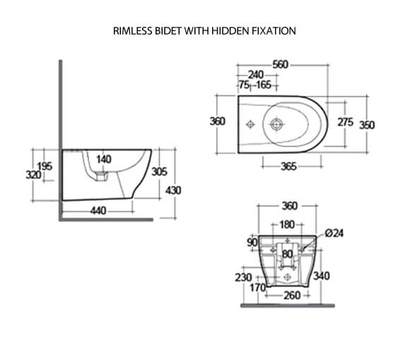 Additional image of RAK Moon Wall-Hung Bidet 560mm Projection 1 Tap Hole