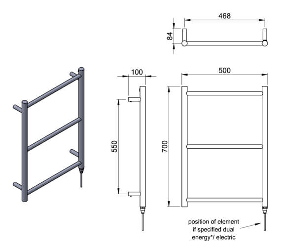 Technical drawing QS-V98134 / MD059 SS0700500PS