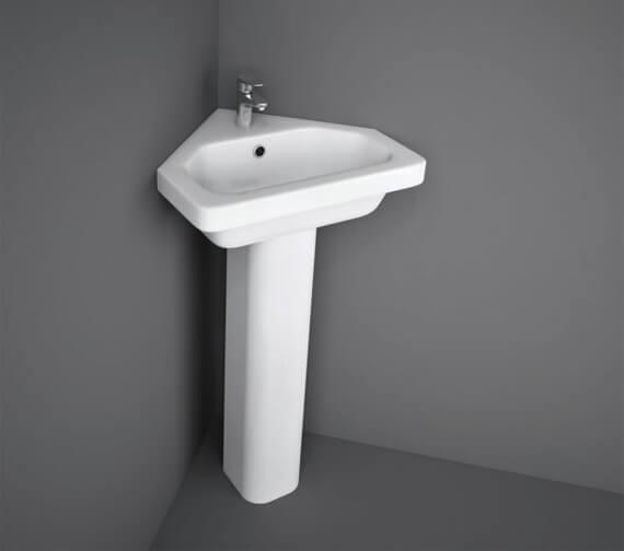 RAK Resort 450mm Wide 1 Tap Hole Corner Basin And Full Pedestal