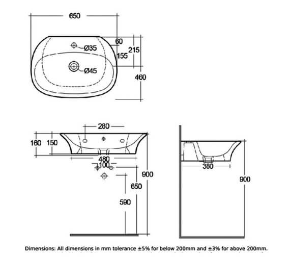 Alternate image of RAK Sensation Wall Hung Basin With 1 Tap Hole