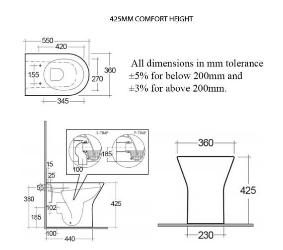Technical drawing QS-V99737 / RST425BTWPAN/SC