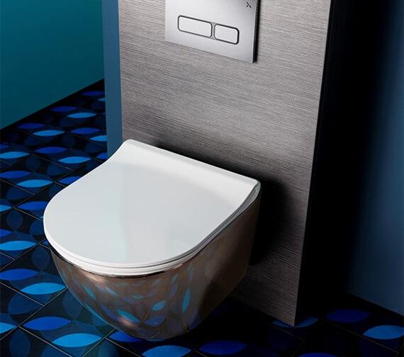 Crosswater Bauhaus Svelte Platinum Back To Wall WC Pan With White Soft Close Seat