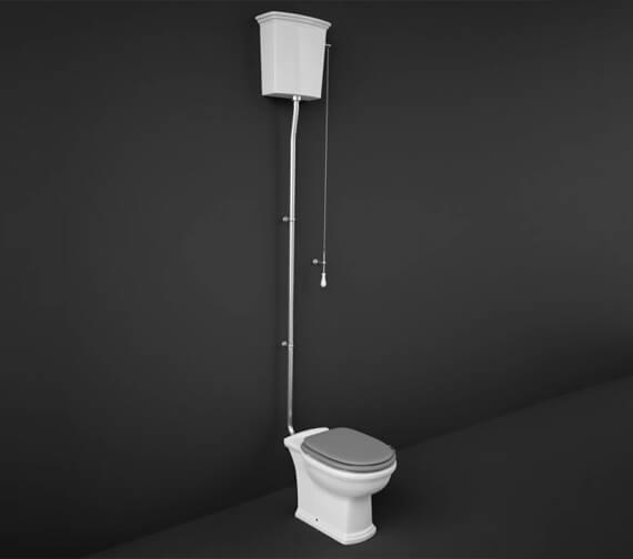 Additional image of RAK Washington High Level Toilet With White Soft Close Wood Seat