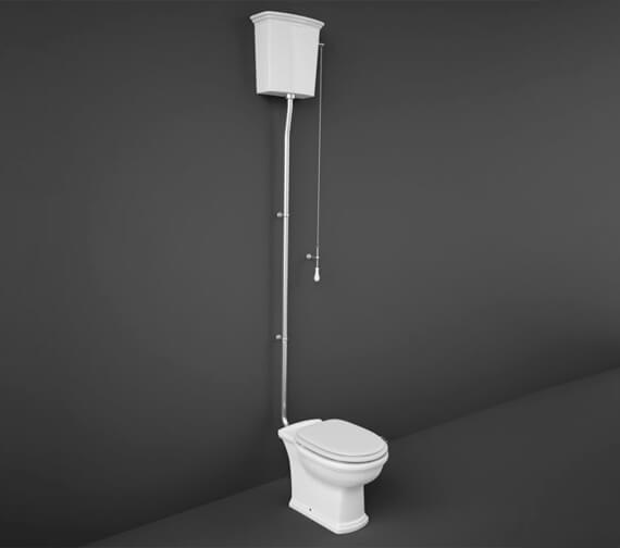 RAK Washington High Level Toilet With White Soft Close Wood Seat