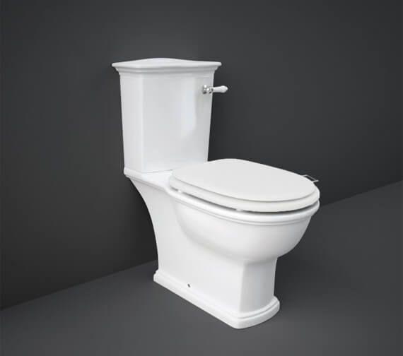 RAK Washington Close Coupled WC With Front Lever Cistern And Matt White Soft Close Wood Seat