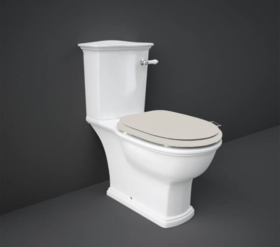 Additional image of RAK Washington Close Coupled WC With Front Lever Cistern And Matt White Soft Close Wood Seat