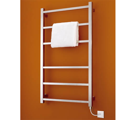 Additional image of Bisque Gio 530mm Wide Stainless Steel Mirror Finish Towel Radiator