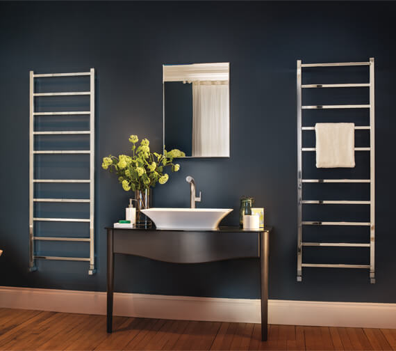 Alternate image of Bisque Gio 530mm Wide Stainless Steel Mirror Finish Towel Radiator
