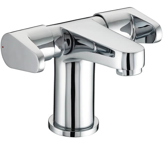 Bristan Quest Two Handled Basin Mixer With Clicker Waste