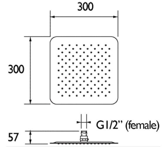 Alternate image of Bristan Square Stainless Steel Slimline Fixed Shower Head
