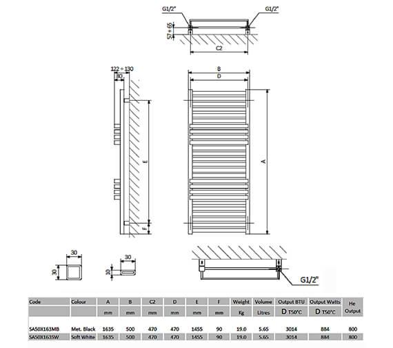 Technical drawing QS-V91048 / SA50X118MB