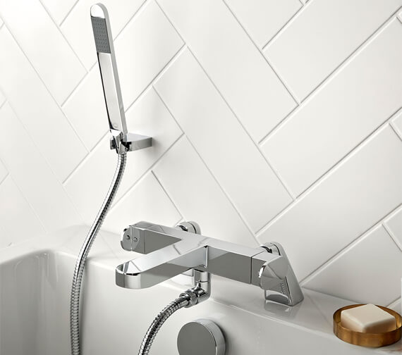 Vado Life Thermostatic Deck Mounted 2 Hole Bath Shower Mixer Tap With Shower Kit