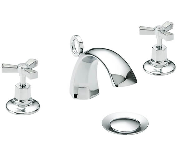 Additional image of Heritage Gracechurch 3 Taphole Basin Mixer Tap With Chrome Handles
