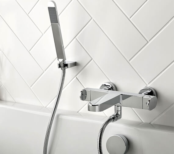 Vado Life Thermostatic Wall-Mounted Bath Shower Mixer Tap With Shower Kit