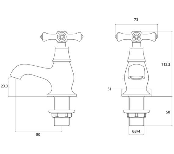 Technical drawing QS-V54055 / K 3/4 C