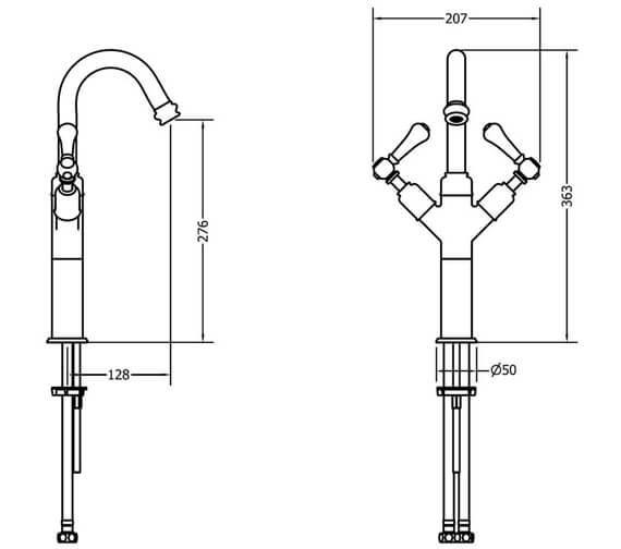 Additional image of Crosswater Belgravia Tall Monobloc Basin Mixer Tap