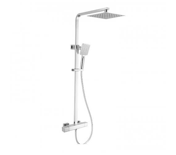 RAK Compact Square Exposed Thermostatic Shower Column With Fixed Head And Shower Kit