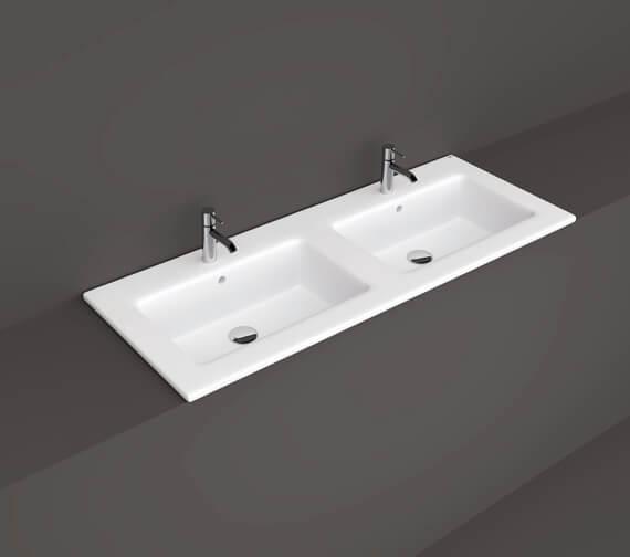 RAK Ceramics Joy Drop-In Double Bowl Washbasin 1210mm Wide