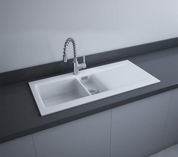 RAK Gourmet Dream 1 Ceramic Kitchen Sink 1.5 Bowl Reversible Drainer 1010mm x 510mm