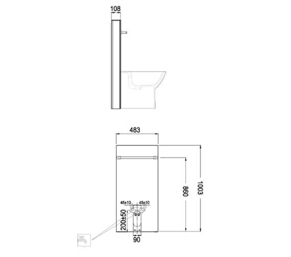 Technical drawing QS-V103123 / FS12RAKCAB01