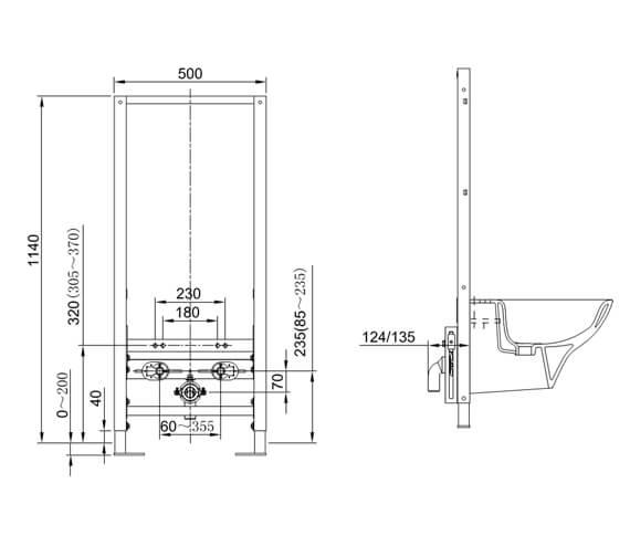 Alternate image of RAK Concealed Bidet Support Frame With Adjustable Fittings