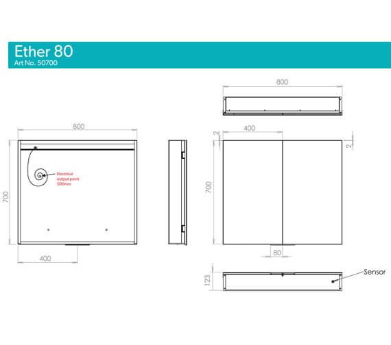 Additional image of HIB Ether Double Door LED Illuminated Rectangular Mirrored Cabinet