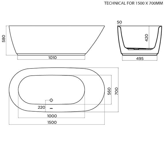 Technical drawing QS-V96003 / 74001-1500B