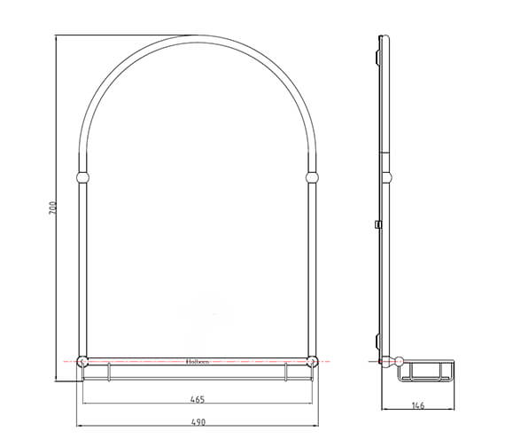 Additional image of Holborn Traditional 490mm Wide Arched Bathroom Mirror