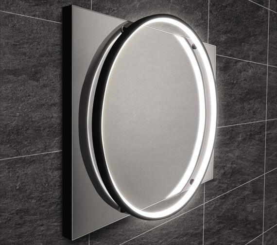 Alternate image of HiB Solas 50 LED Illuminated 500 x 700mm Elegant Circular Mirror With Chrome Frame