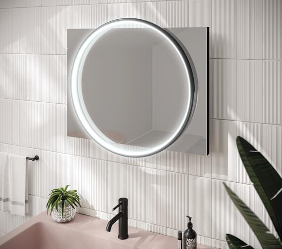 HiB Solas 50 LED Illuminated 500 x 700mm Elegant Circular Mirror With Chrome Frame