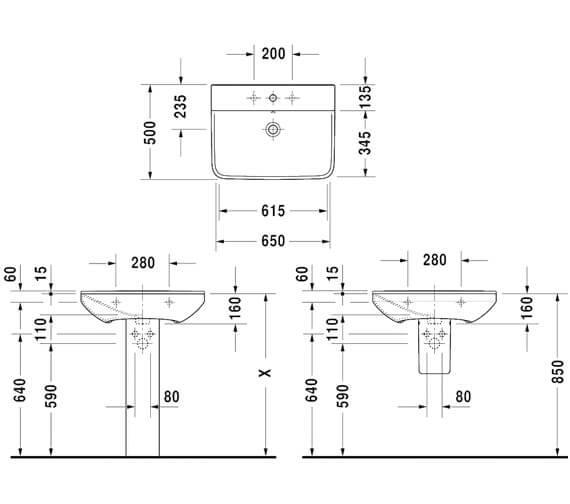 Additional image of Duravit P3 Comforts Wall Mounted Washbasin