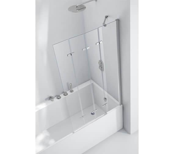 Additional image of Aquaglass 6mm Frame-less 4 Fold Bath Screen