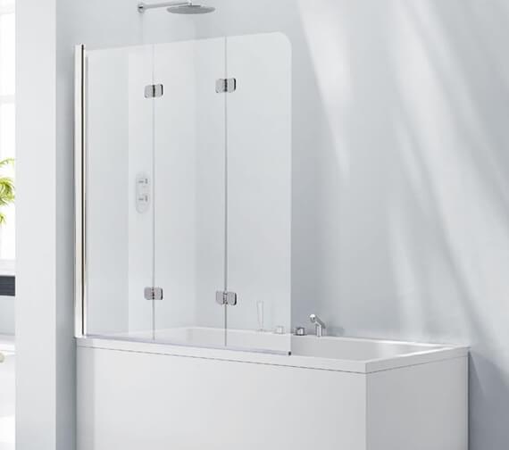 Aquaglass 6mm 3 Fold 1200 x 1400mm Frameless Bath Screen