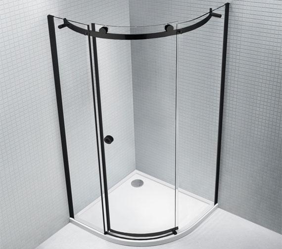 Aquaglass Sphere 8mm Black Framed 1200 x 900mm Offset Quadrant Enclosure