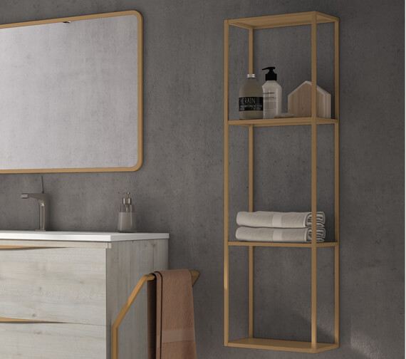 Aqua Vogue 1100mm High Wall-Hung Open Shelf Storage Tall Unit