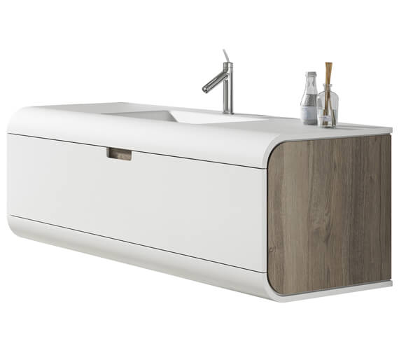 Aqua Sunne 1 Drawer Wall-Hung Vanity Unit With Solid Surface Basin