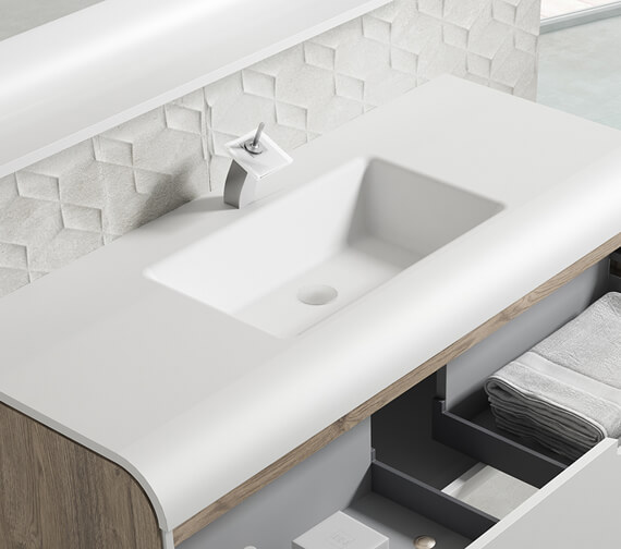 Alternate image of Aqua Sunne 1 Drawer Wall-Hung Vanity Unit With Solid Surface Basin