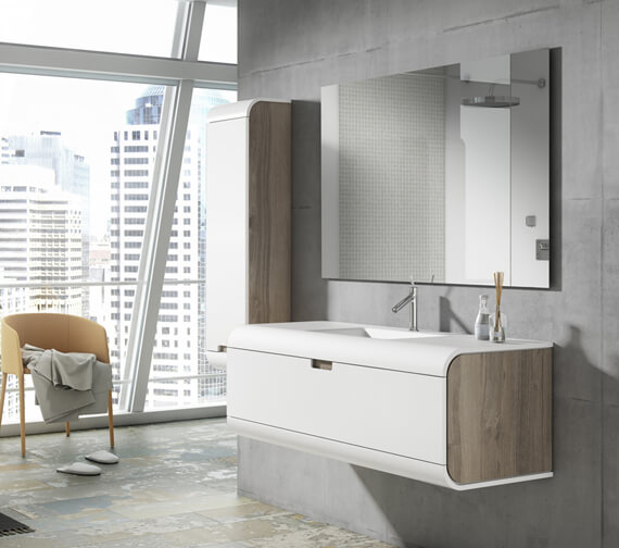 Additional image of Aqua Sunne 1 Drawer Wall-Hung Vanity Unit With Solid Surface Basin