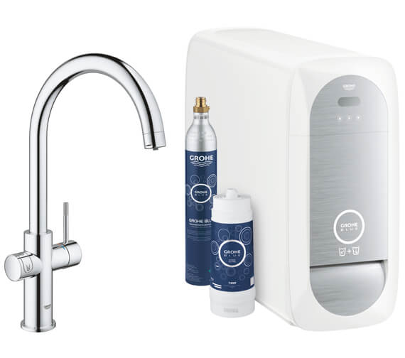 Grohe Blue Home Chrome Finish Kitchen Sink Mixer Tap With Filter Function