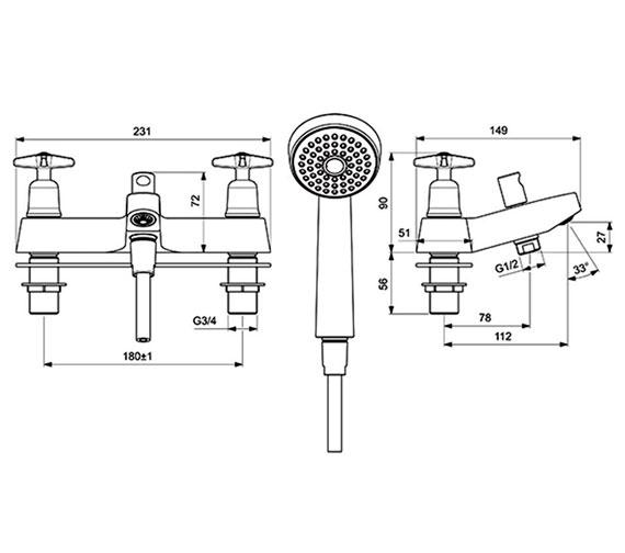 Additional image of Armitage Shanks Sandringham 21 Bath Shower Mixer With Kit - Chrome Finish