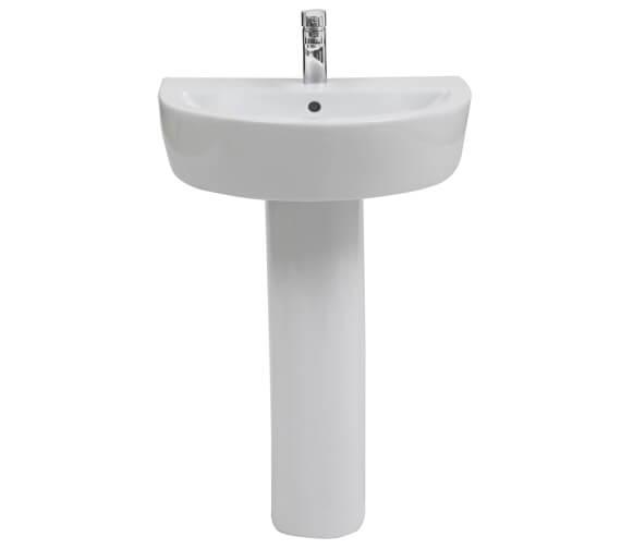 Aqua Emme 560mm 1 Taphole Round Basin With Large Pedestal