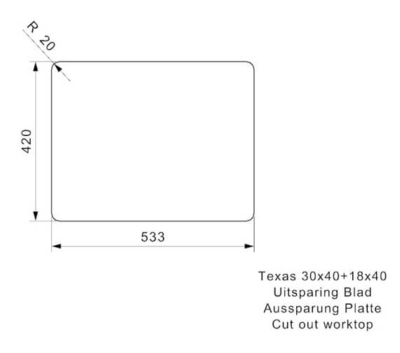Additional image of Reginox Sinks  TEXAS 30X40+18X40 L