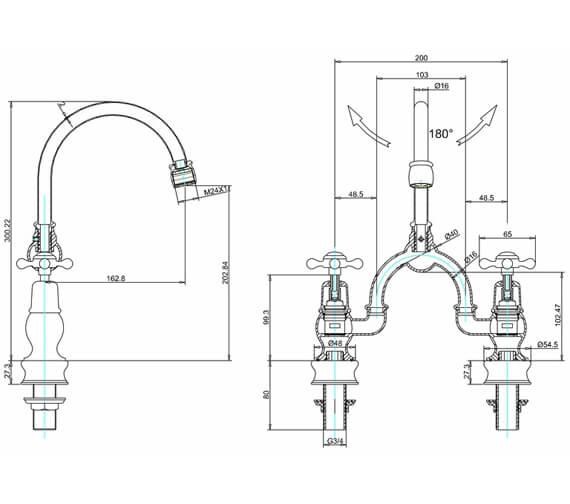 Additional image of Burlington Kensington Regent 2 Tap Hole Arch Basin Mixer - 200mm Centres