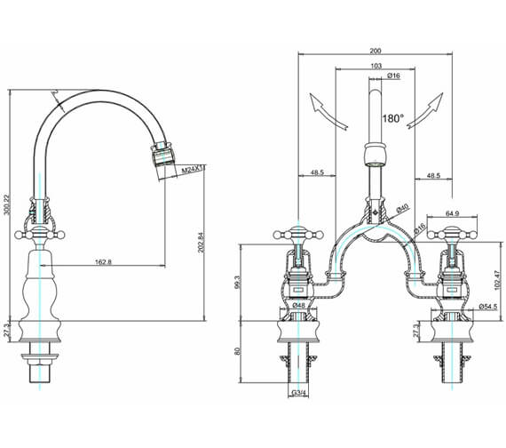 Alternate image of Burlington Kensington Regent 2 Tap Hole Arch Basin Mixer - 200mm Centres