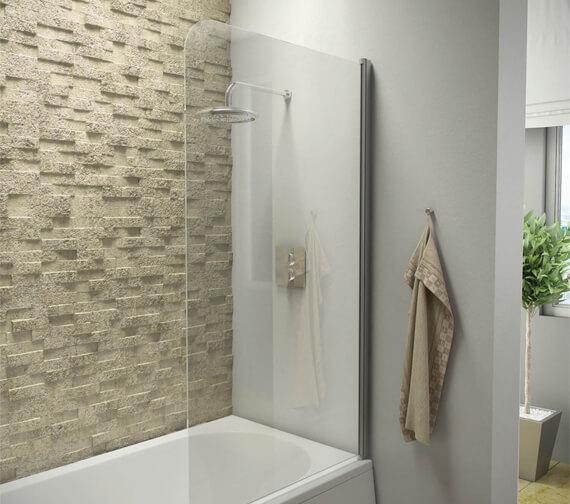 Harrison Bathrooms A6 Radius Edge 1400mm x 800mm 6mm Thick Bath Screen