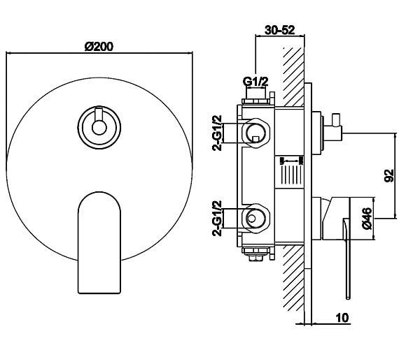 Additional image of Aqua Edition Strand Brushed Steel Concealed Shower Valve