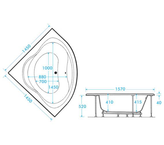 Additional image of Aqua Lagoon Corner Bath - Different Sizes Available