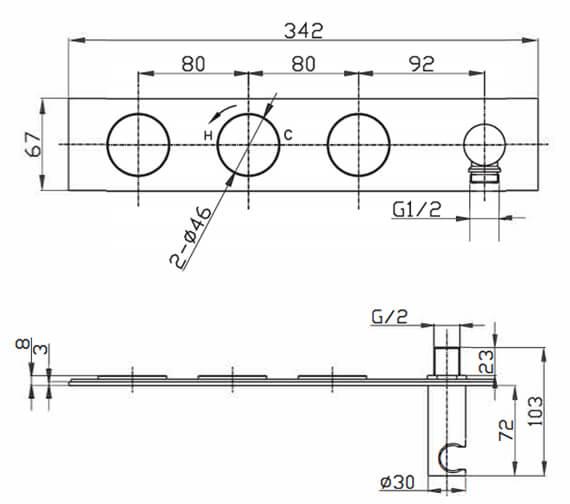 Technical drawing QS-V82528 / KL2701RC