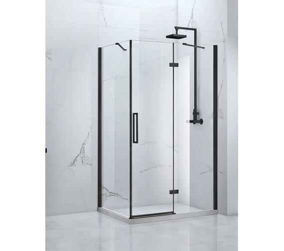 Aquaglass Onyx 8mm Black Framed Hinged Door With Inline Panel