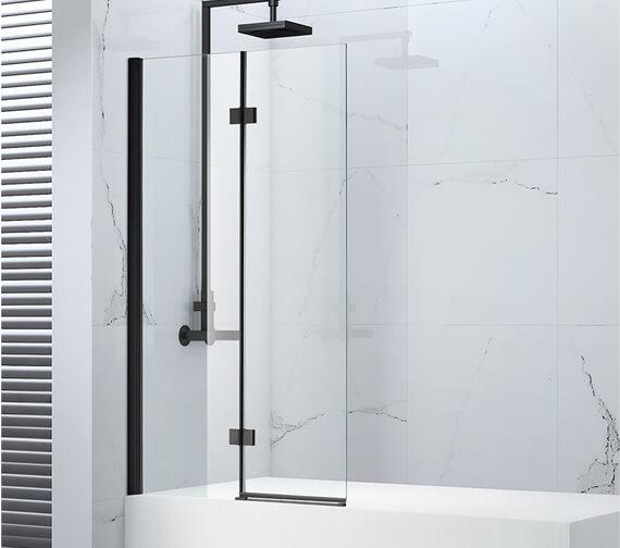 Aquaglass Onyx Black 8mm Hinged Folding Bath Screen